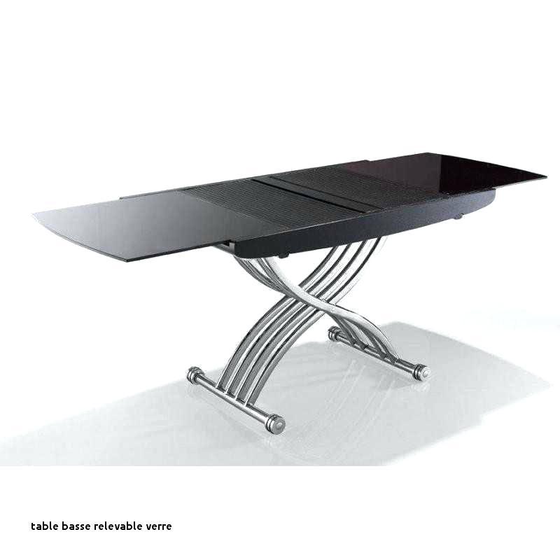 Table basse form relevable extensible plateau en verre extra blanc