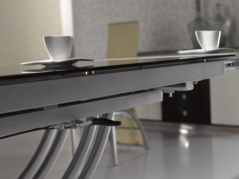 Table basse relevable rita gris verre & alu