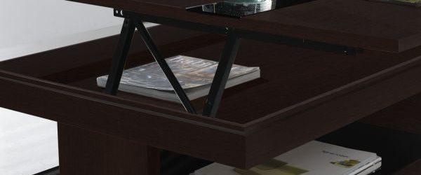 Table basse relevable sally verre noir 2 métre