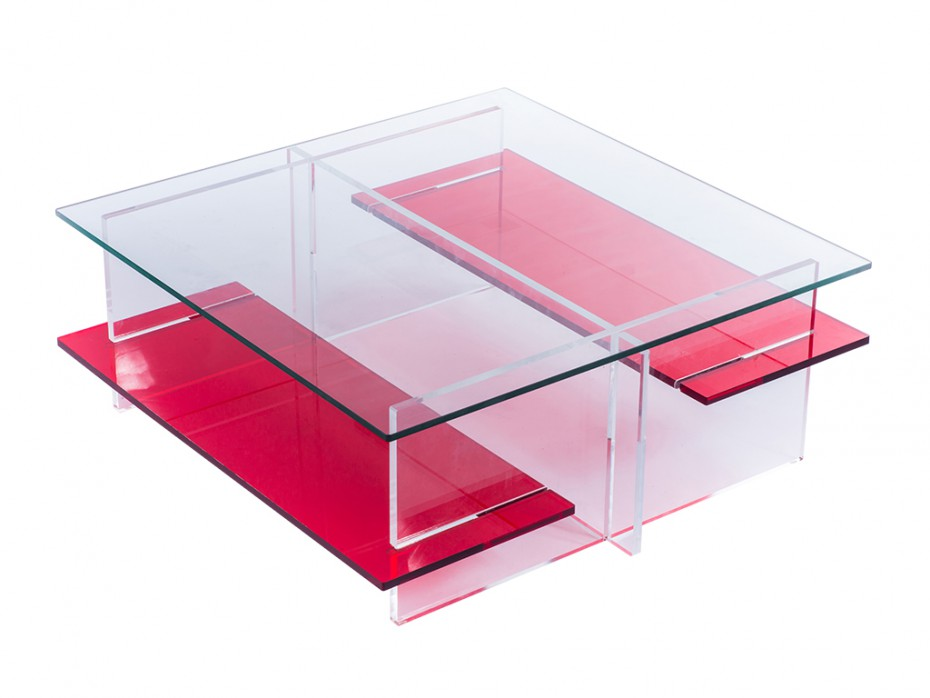 Table basse en verre rouge