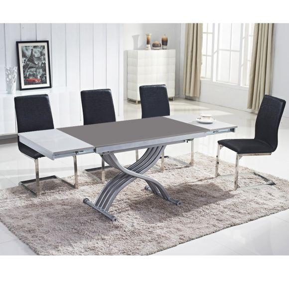 Table basse relevable laquée blanc zen