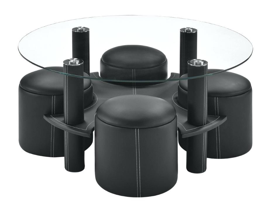 table basse ronde avec pouf encastrable. Black Bedroom Furniture Sets. Home Design Ideas