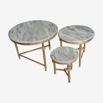 Table basse marbre et cuivre
